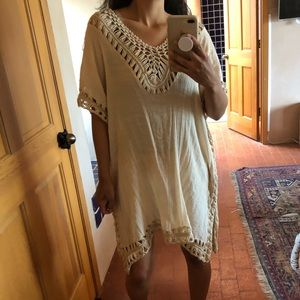 Boho cotton gauze caftan knit dress top cover up
